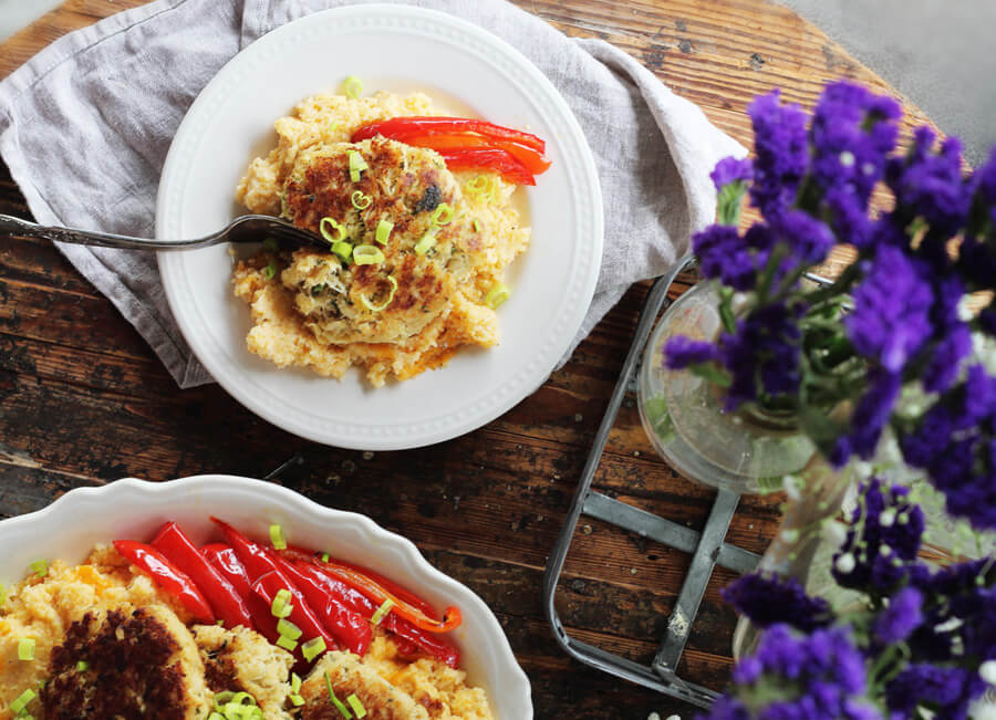 Baked Cheddar Cheese Grits Recipe with Crab Cakes   Buy This Cook That