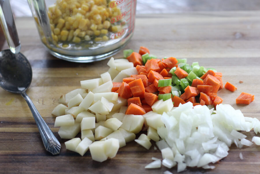 Mixed vegetables for chicken pot pie.