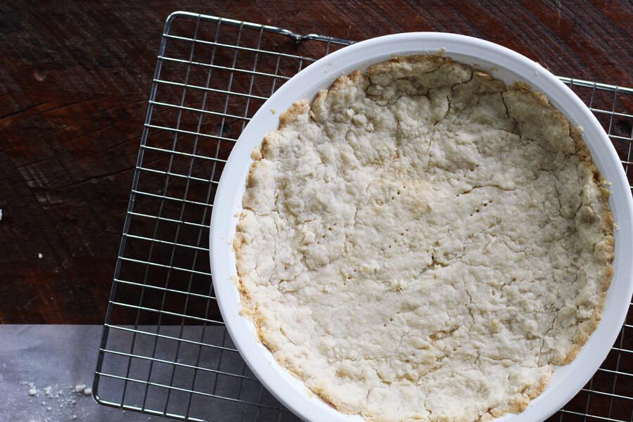 Overhead shot of a par baked bottom crust for chicken pot pie
