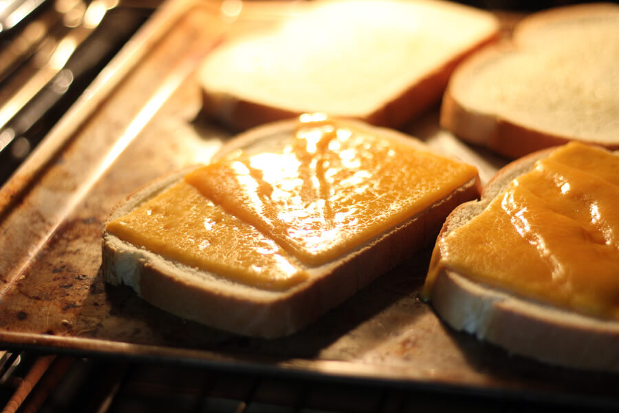 cheese melting on bread
