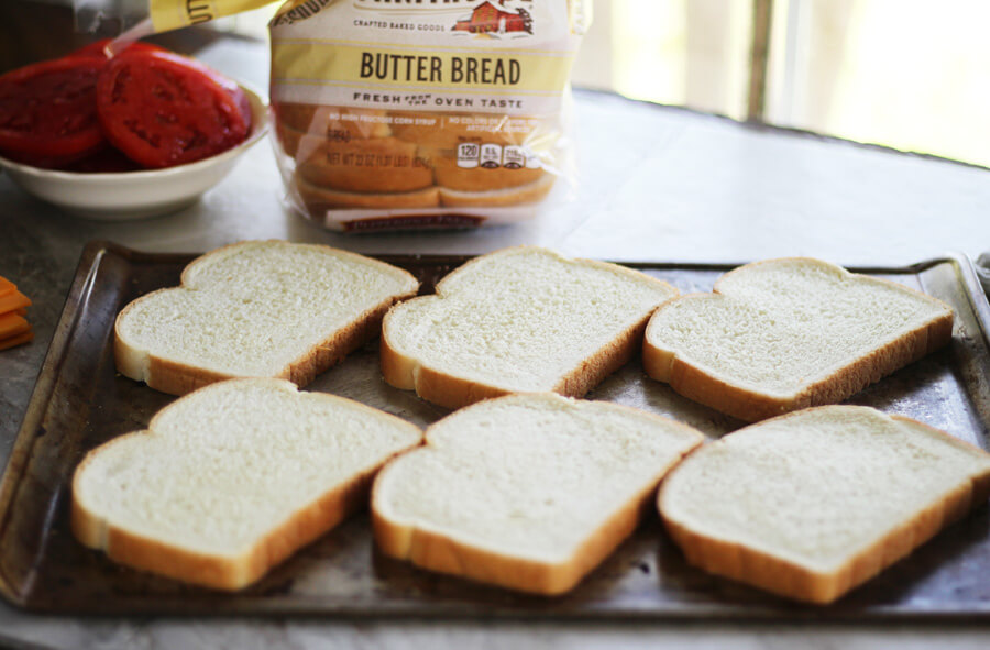 toasted white bread on a baking sheet