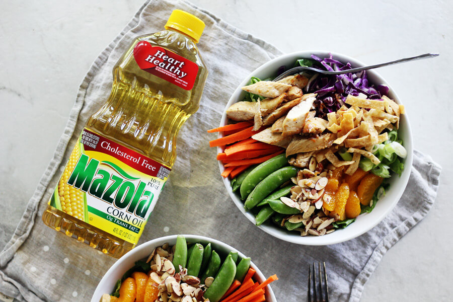Mandarin Chinese Chicken Salad with homemade ginger dressing made with Mazola Corn Oil