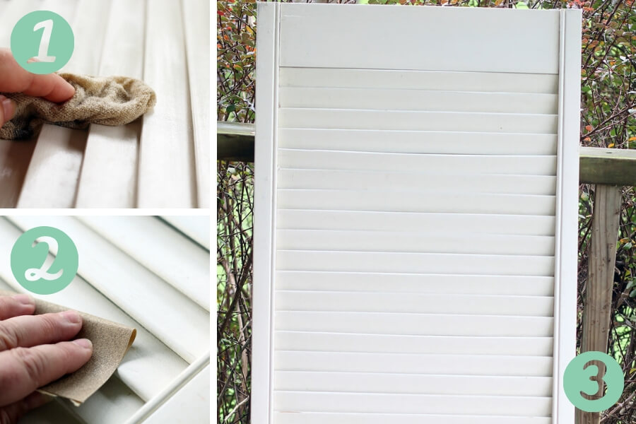 Step by step instructions on how to prep an old shutter for this wall decor project.