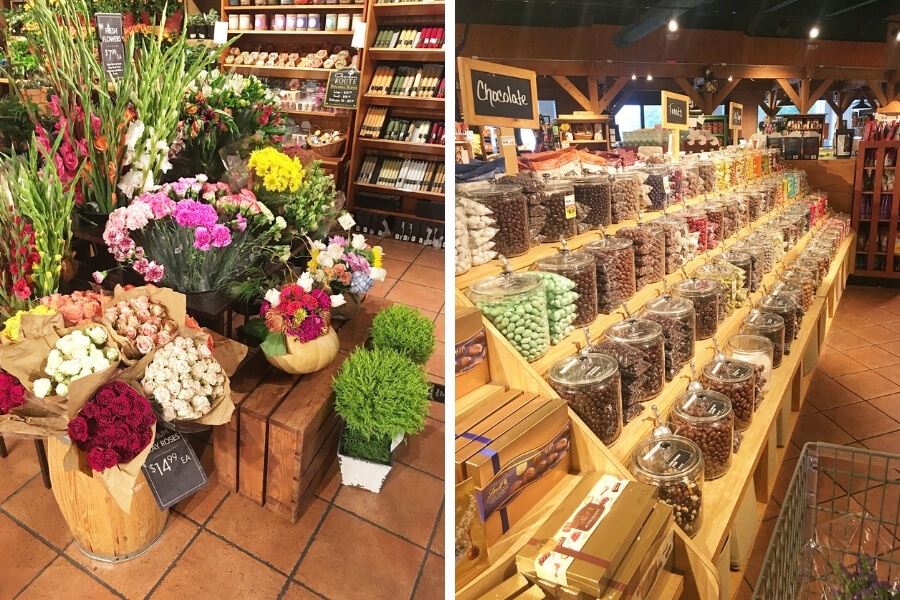 Fresh flower and candy display at The Fresh Market grocery store in Brentwood, Tennessee