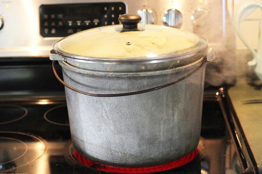 a makeshift steamer pot