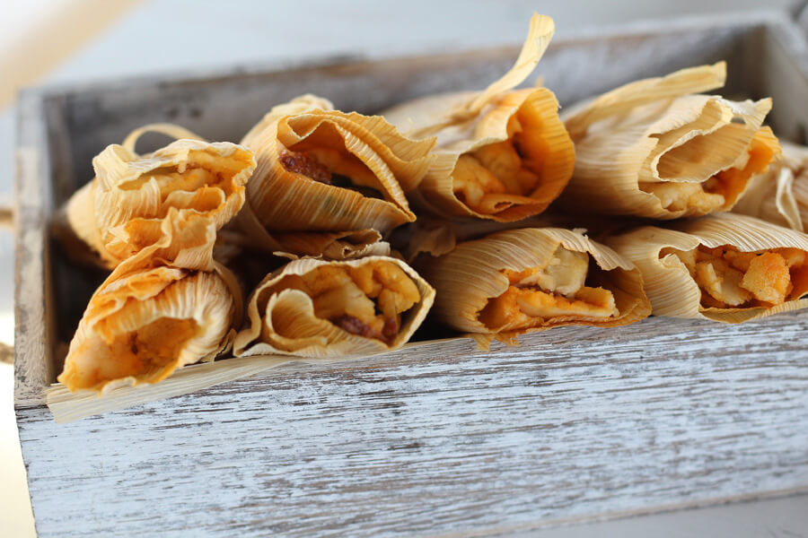 Poblano Chorizo + Cheese Tamales Recipe | Buy This Cook That - Tender, corn dough filled with savory chorizo, roasted poblano peppers and manchego cheese.