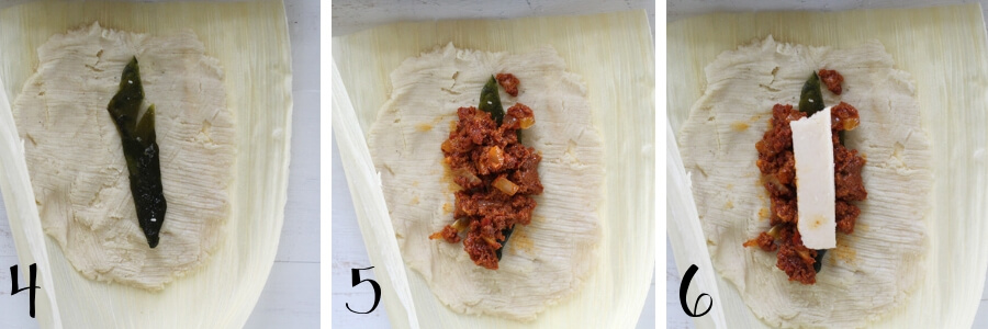 Assemble the tamales with a layer of roasted poblano, spicy chorizo filling and top with manchego cheese.