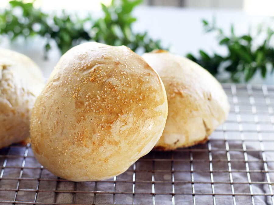 Golden, homemade bread.
