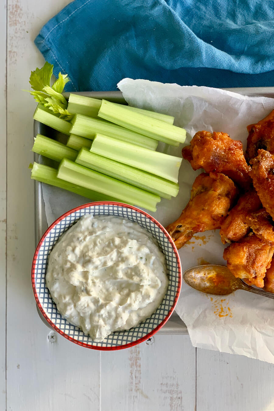Crush the competition on game day and serve this homemade blue cheese dressing with Buffalo wings.