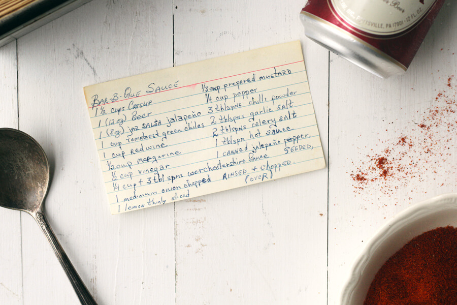 Family recipe card for Char's Beer BBQ Sauce Recipe