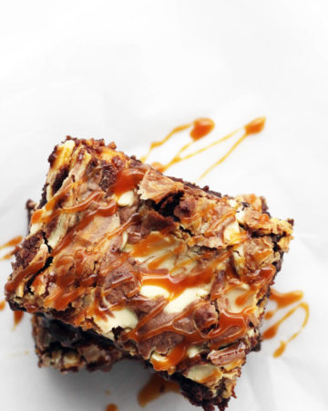 Vanilla Swirl Dark Chocolate Brownies + Salted Caramel Drizzle | Buy This Cook That