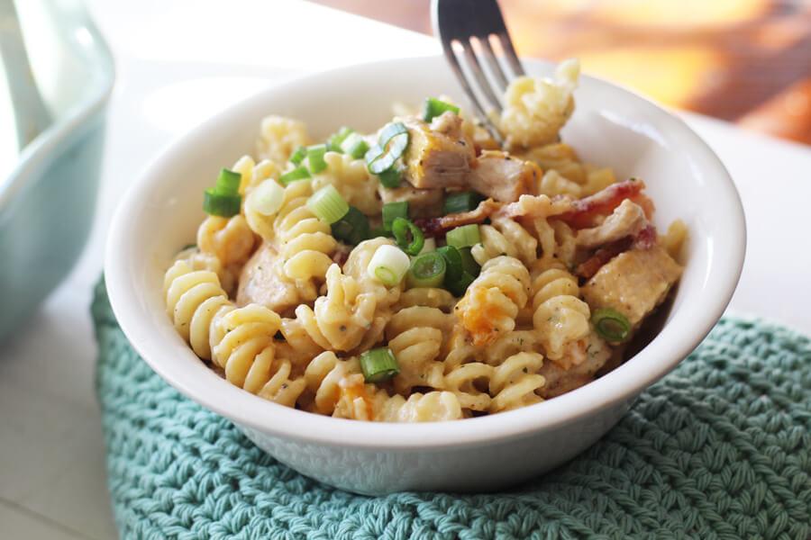 A bowl of pasta casserole.