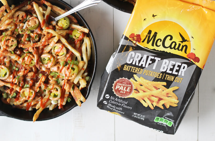 Loaded French Fries made with McCain Craft Beer Battered Potatoes