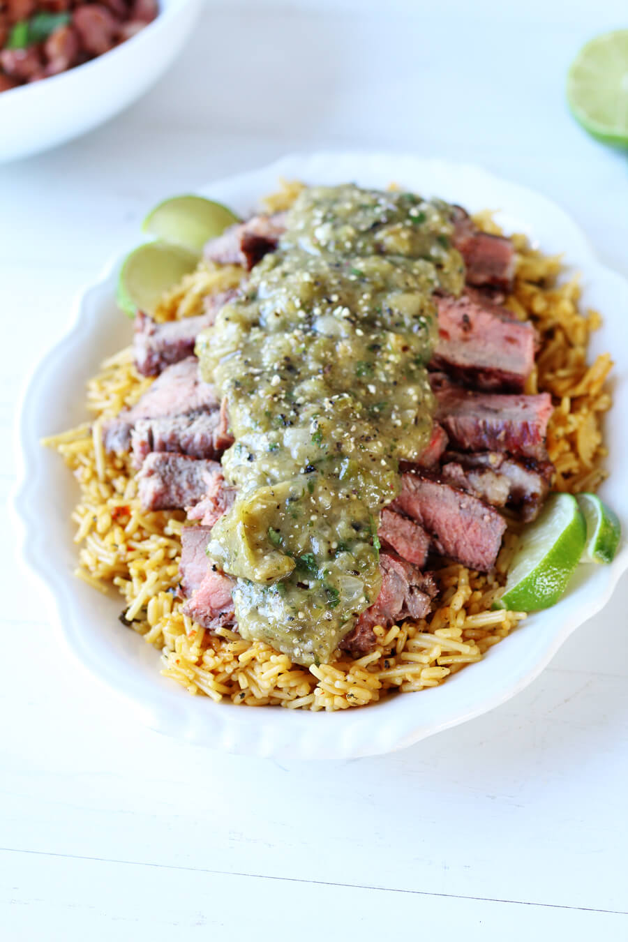 Mesquite Grilled Steaks with Grilled Tomatillo Salsa Verde | Buy This Cook That  #grilledsteaks #grillingrecipe #salsaverde