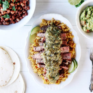 Mesquite Grilled Steaks with Grilled Tomatillo Salsa Verde