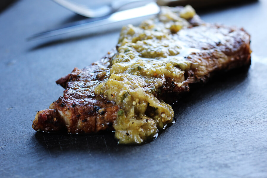 Grilled Steaks with Salsa Verde