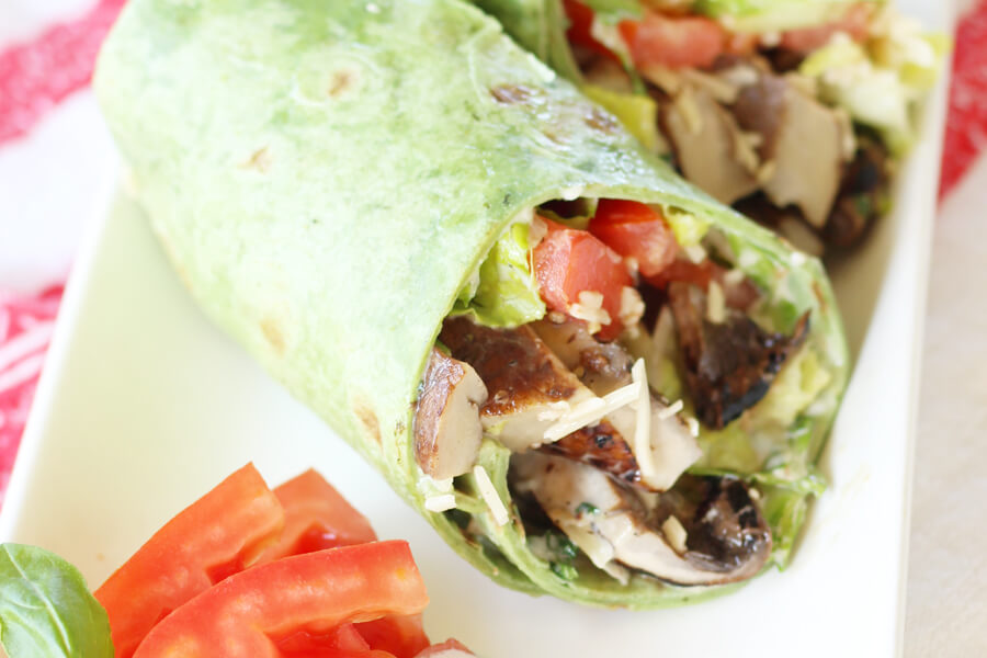 Balsamic Portabella Mushroom Wraps with Basil Mayonnaise