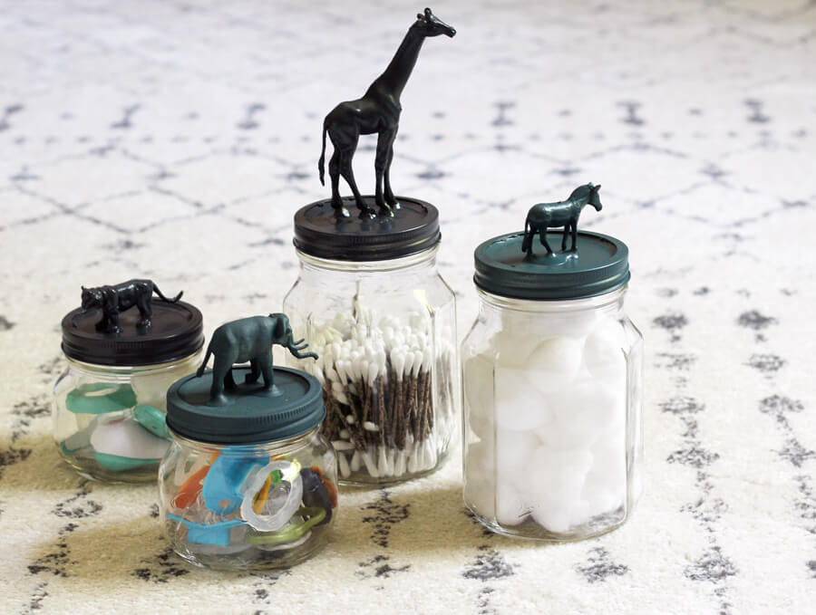 Jars with decorated animal lids