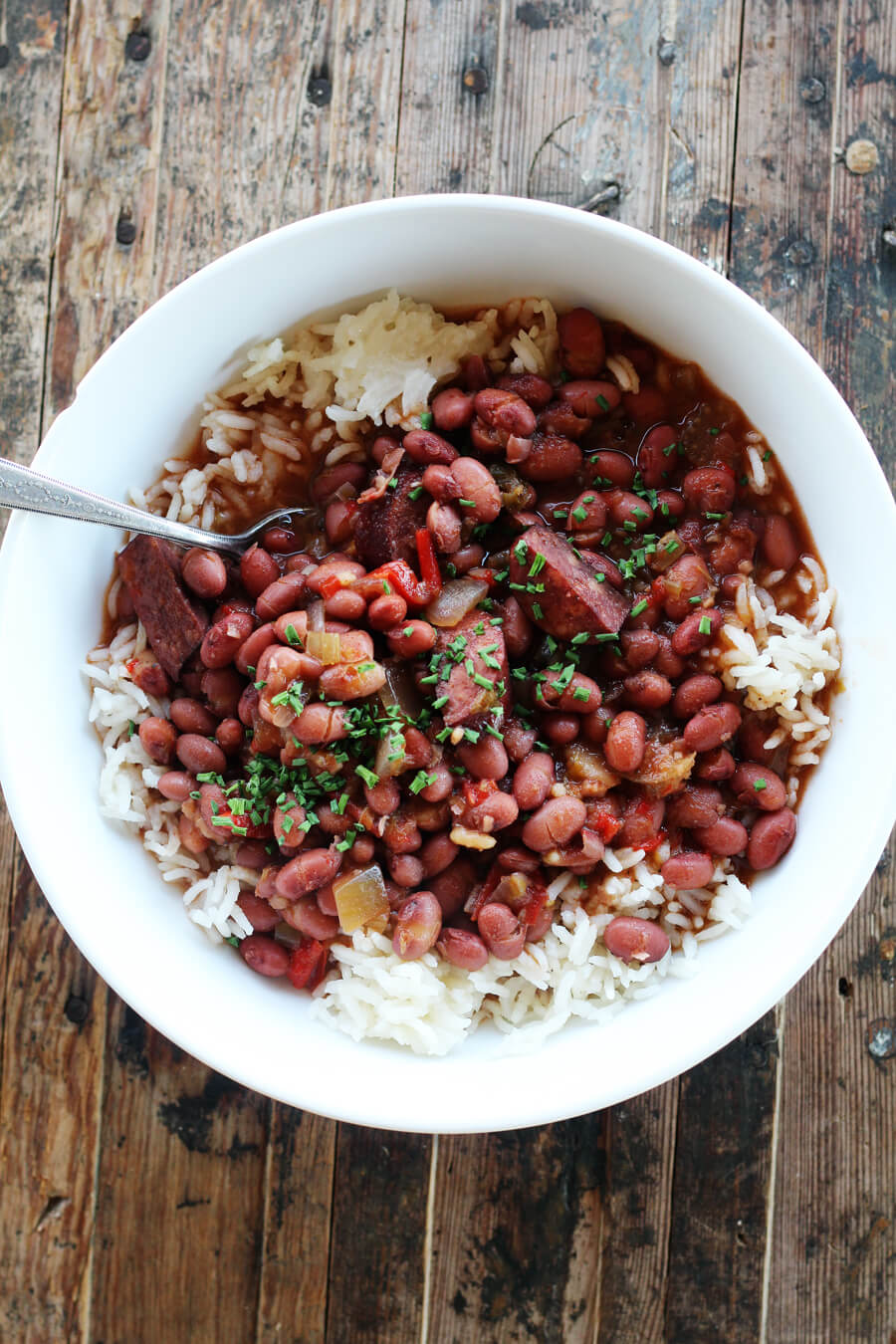 Red beans with smoked sausage served over white rice