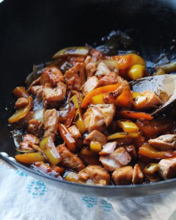 Honey Garlic Salmon in a wok