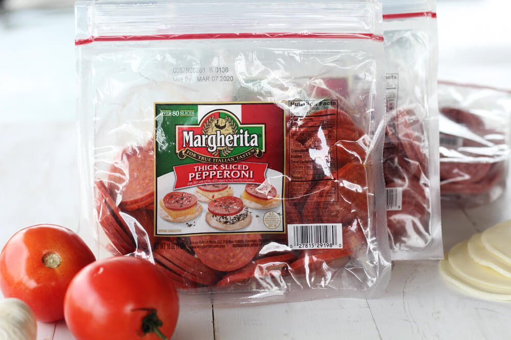 Thick sliced pepperoni