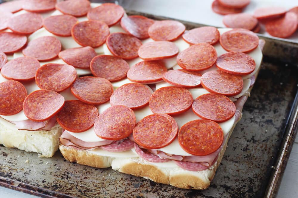 slices of pepperoni on sliders