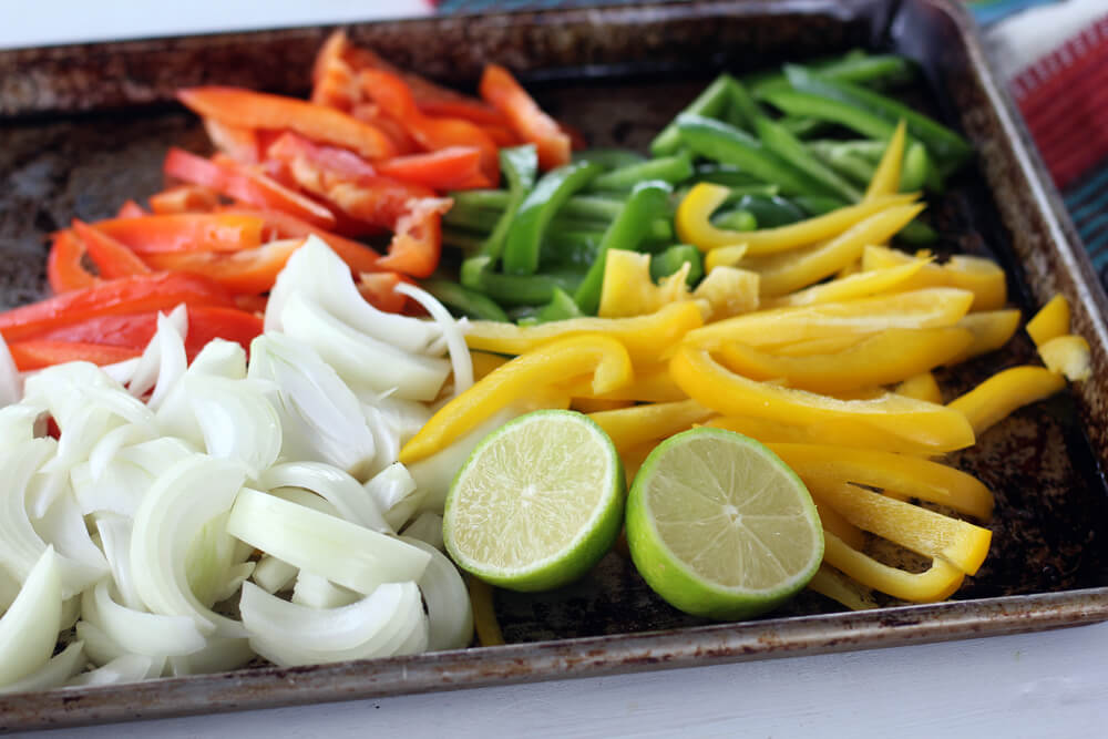 fresh sliced peppers and onions