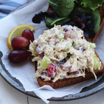 Chicken salad open face sandwich