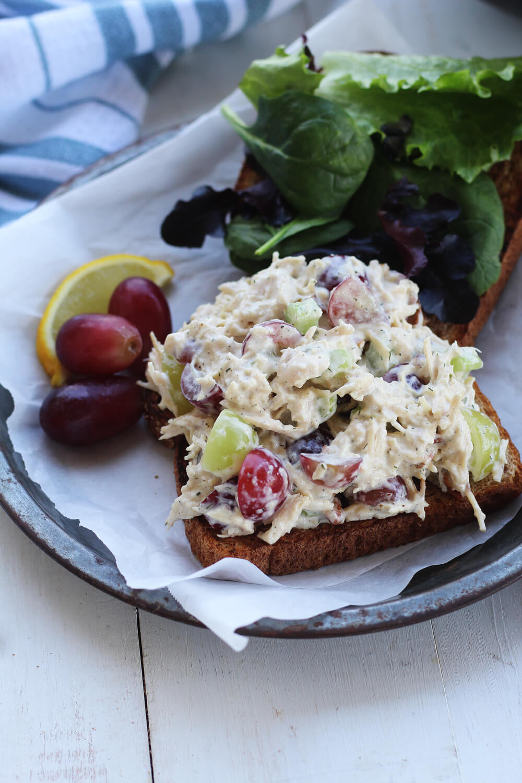Chicken salad open face sandwich