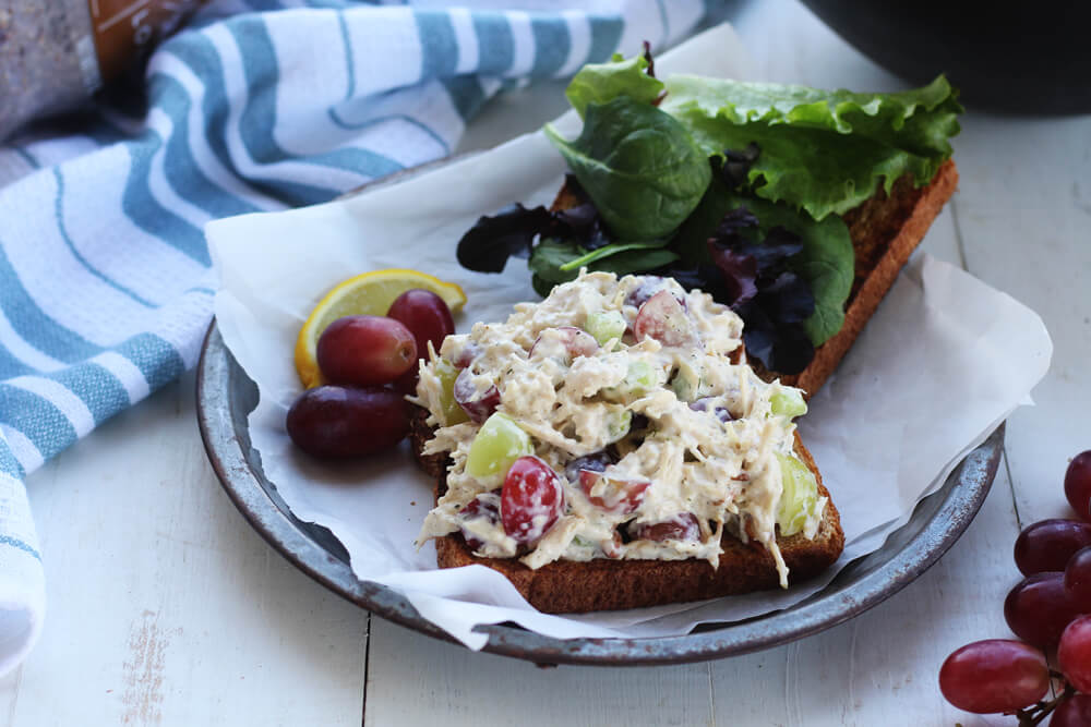 overhead picture of chicken salad on toasted bread