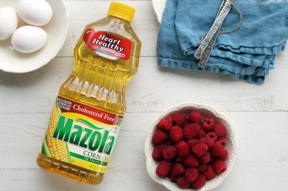 Mazola corn oil, fresh raspberries, and eggs