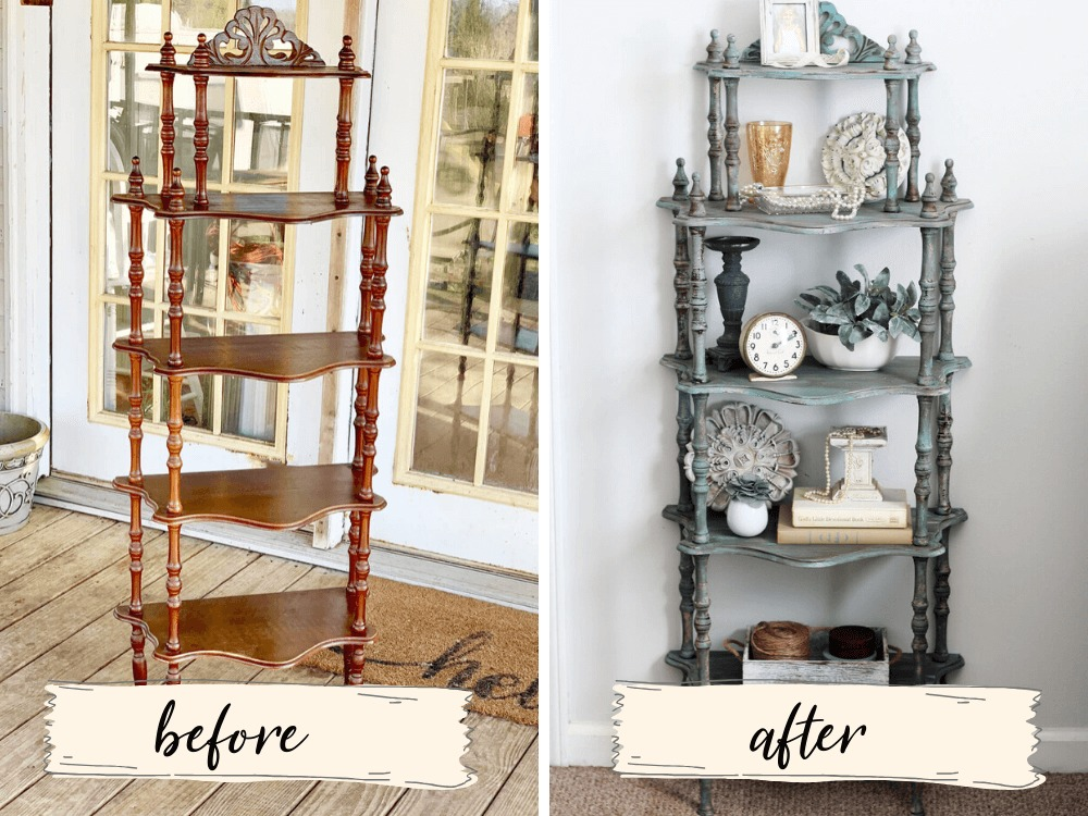 Before and After of a Chalk Painted Shelf