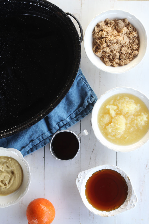 ingredients to make this recipe include brown sugar, honey, dijon mustard, fresh orange, crushed pineapple, and Kentucky bourbon