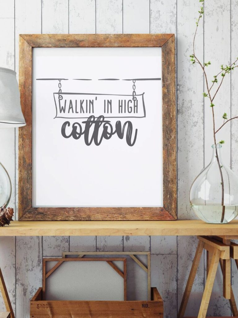Wood frame with printed saying, free printable wall art