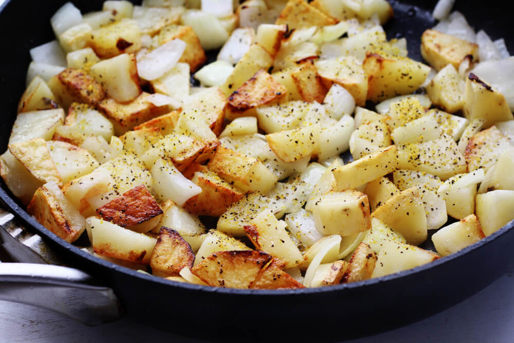 cripsy golden fried potatoes and onions