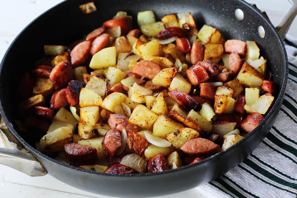 kielbasa and potatoes seasoned with lemon pepper