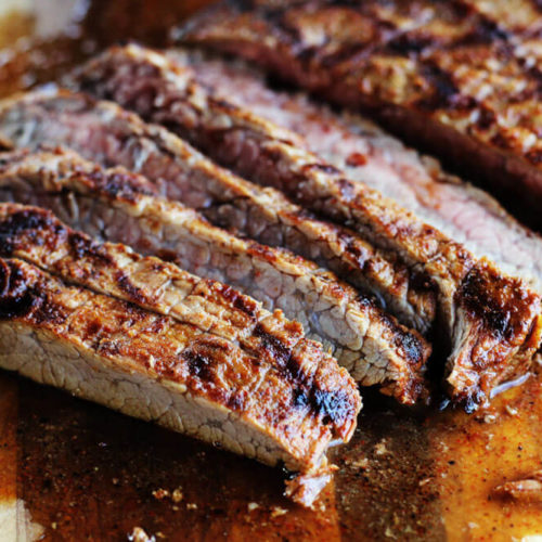 juicy slices of meat on a wooden cutting board