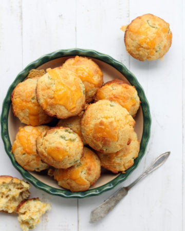 overhead picture of muffins made with cheddar and jalapeno
