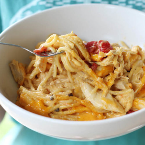 a bowl of comforting chicken spaghetti