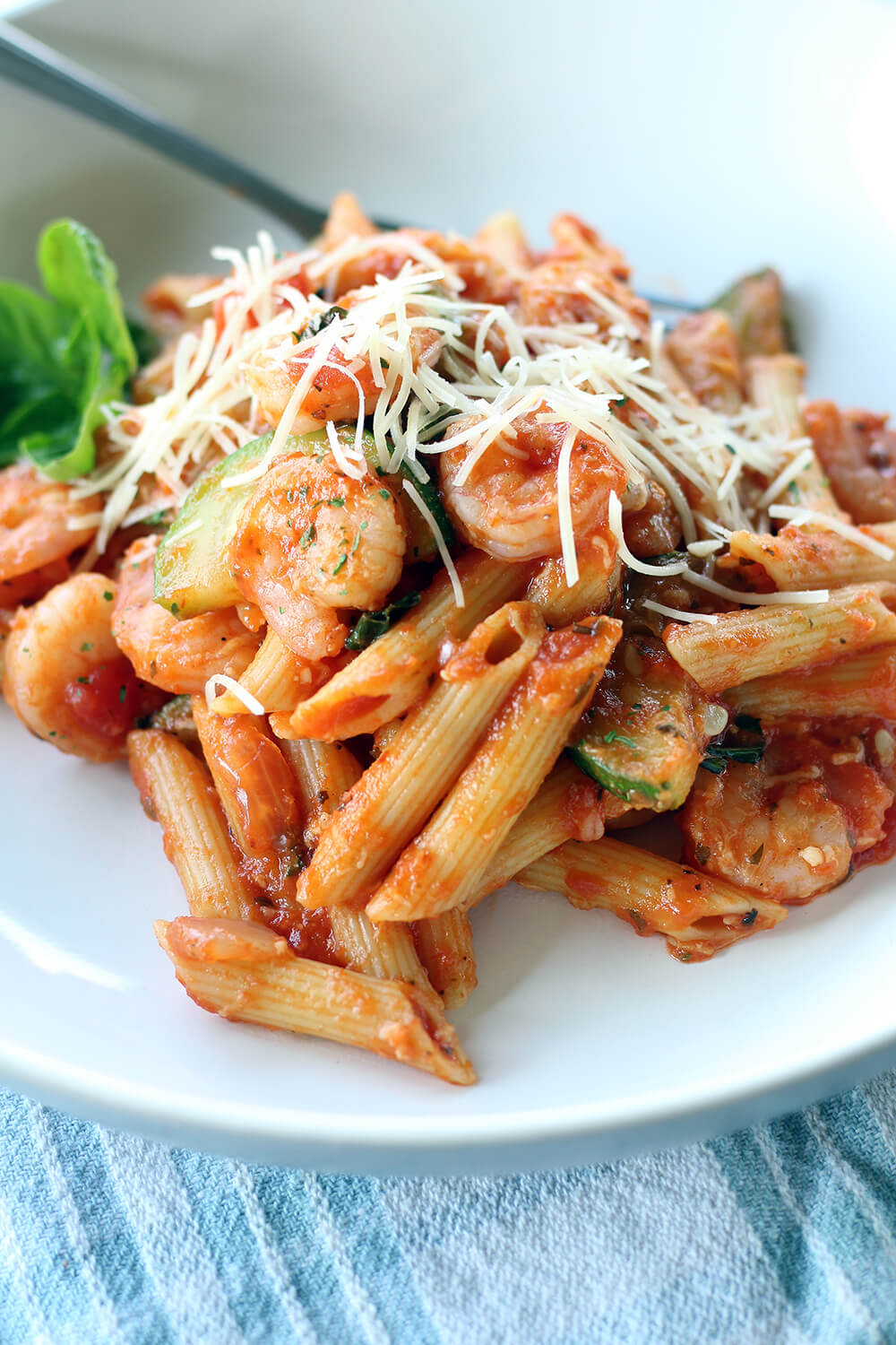 close up picture of penne pasta in sauce - easy dinner recipes
