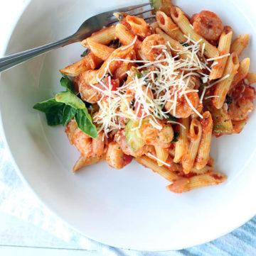 Basil Tomato Shrimp Pasta