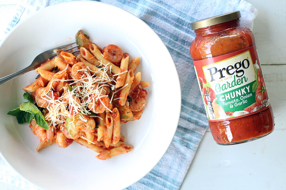 Shrimp Pasta + Prego Sauce