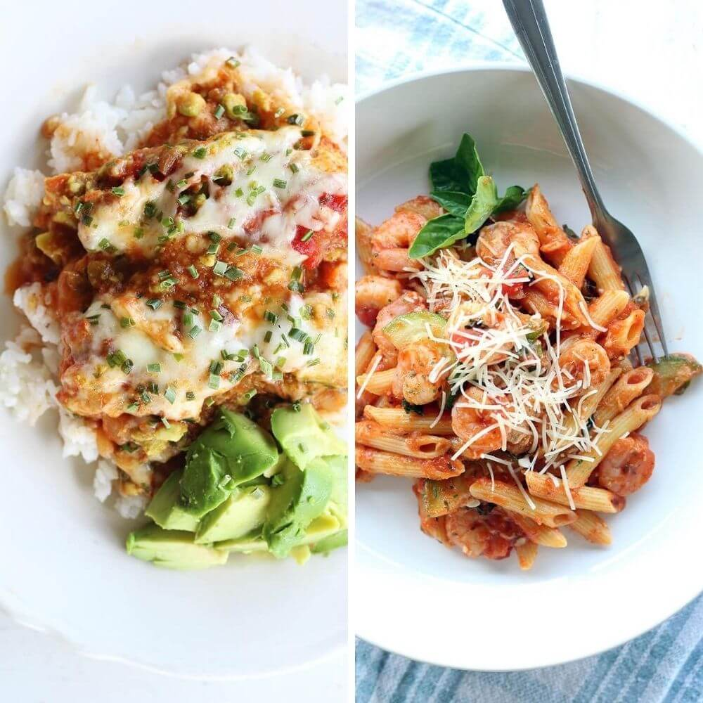 Salsa Avocado Chicken and Basil Tomato Shrimp Pasta - Two Easy Dinner Recipes with Pace, Prego and Spaghettio's.