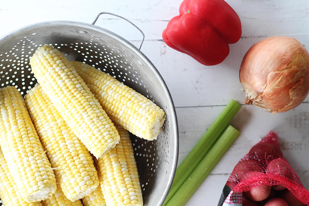 fresh corn, bell pepper, onion, celery, and baby red potatoes