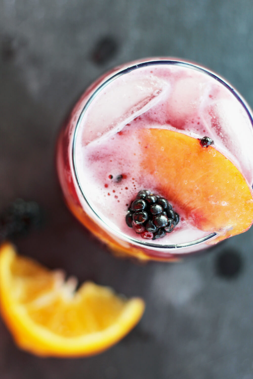 overhead picture of a glass of iced sangria
