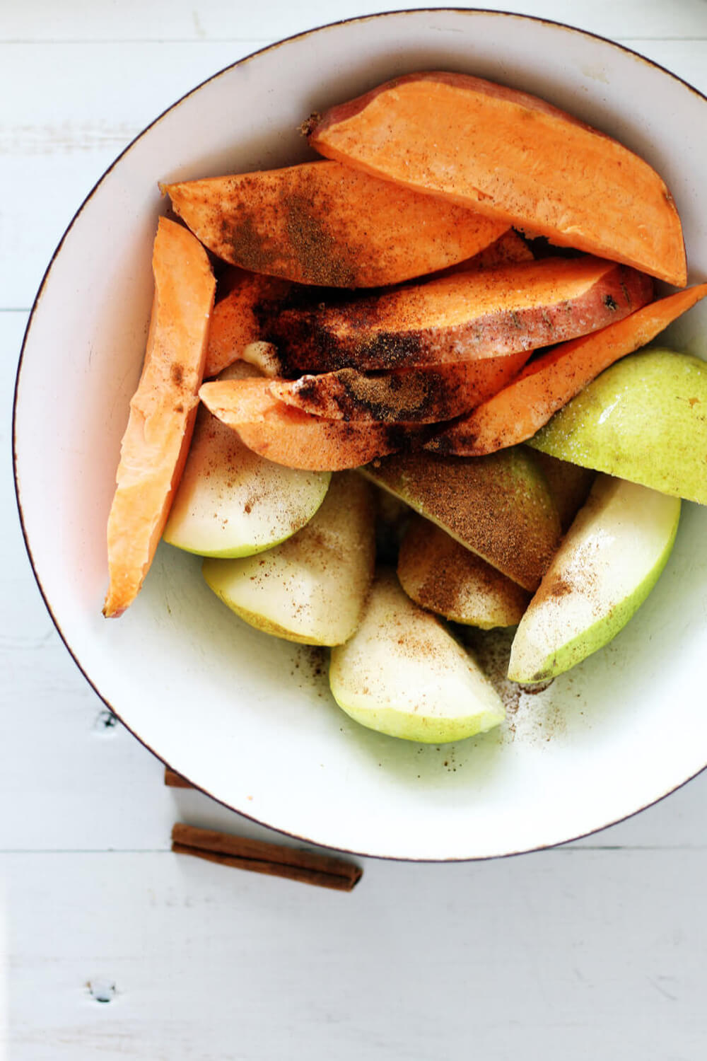 sliced pears and sweet potatoes