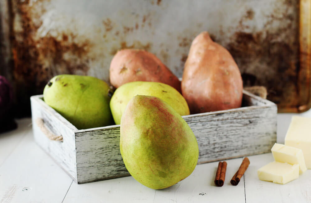 seasonal produce, juicy pears, sweet potatoes
