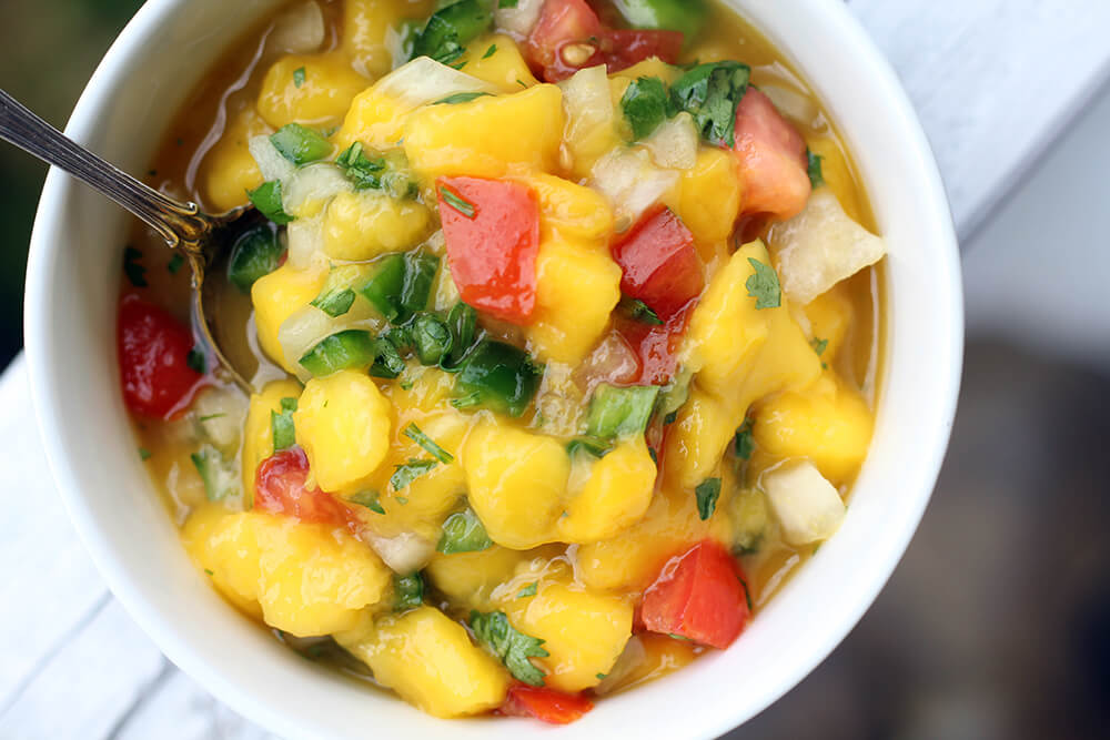 fresh pico made with mangoes