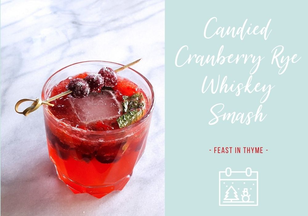 Candied Cranberry Rye Whiskey Smash