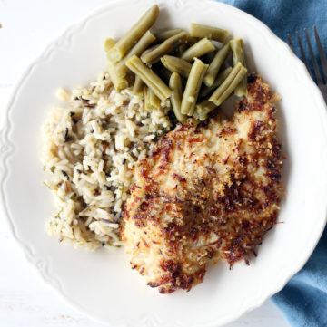Parmesan Crusted Chicken with wild rice and green beans